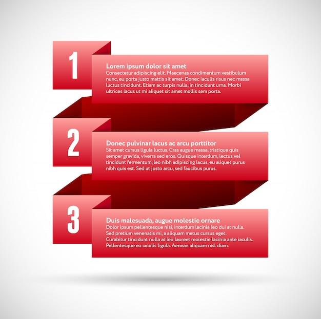 Infografik mit nummerierten infografik bändern