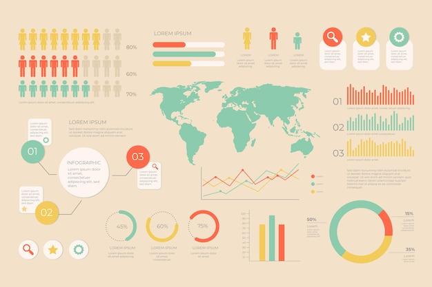 Infografik mit retro-farben-design