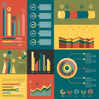 Infografik mit retro-farben im flachen design