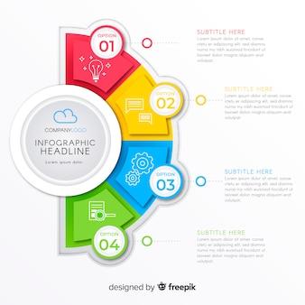 Infografik mit schritt und optionen