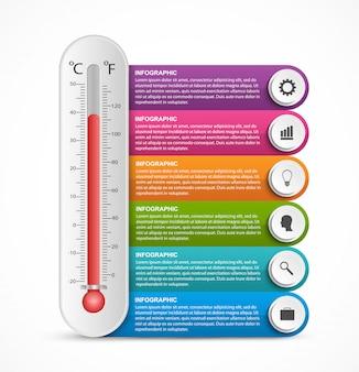 Infografik mit sechs schritten und 3d-thermometer.