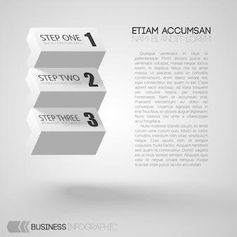 Infografik mit text und weißen steinen mit drei schritten auf grau