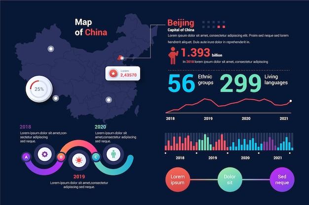 Infografik mit verlaufs-porzellankarte