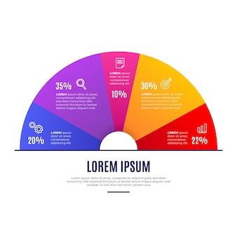 Infografik mit verlaufskreisdiagramm