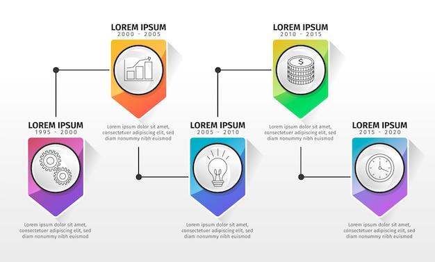 Infografik mit verlaufszeitleiste in verschiedenen farben