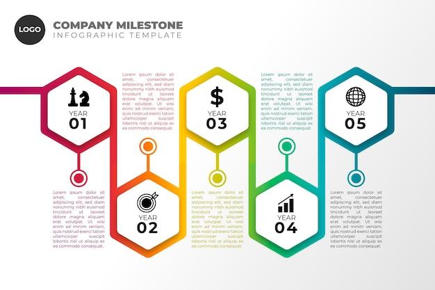 Infografik mit zeitachse für flaches design
