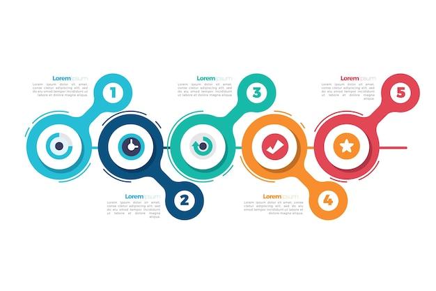 Infografik mit zeitleiste für flaches design