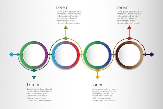 Infografik mit zeitleiste und 4 verbundenen kreisförmigen elementen monatlich