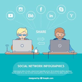 Infografik mit zwei menschen zu sozialen netzwerken verbunden
