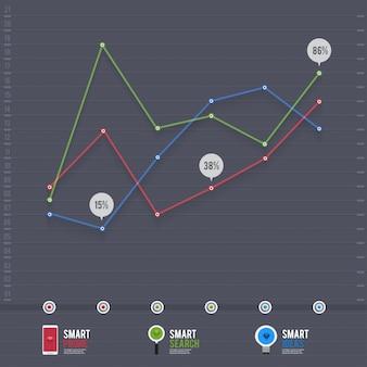 Infografik pfeil diagramm diagramm diagramm auf dem grünen pastell blackground mit und langen schatten. kann element für layout, website-druck, jahresbericht verwenden