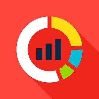 Infografik pie-symbol. vector illustration flat style item mit langem schatten. datenanalyse.