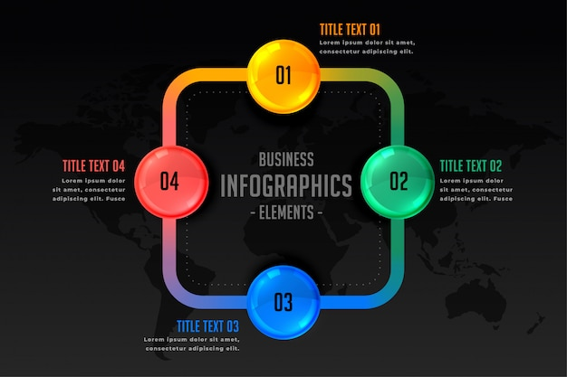 Infografik-präsentation mit vier schritten vorlage