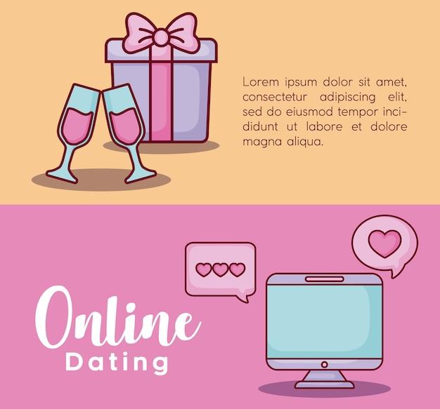 Infografik-präsentation von online-dating-konzept