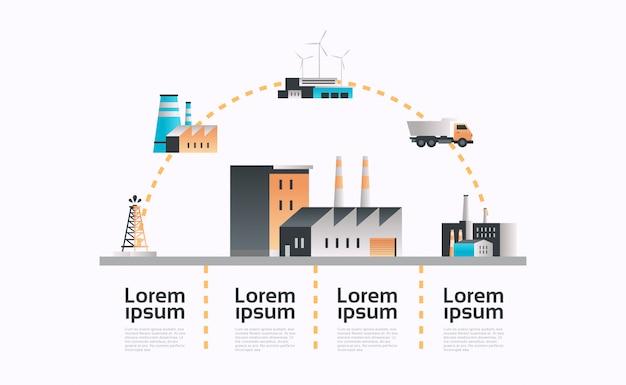 Infografik-schablonenanlage der fabrikgebäudeikone mit rohren und kaminstrom