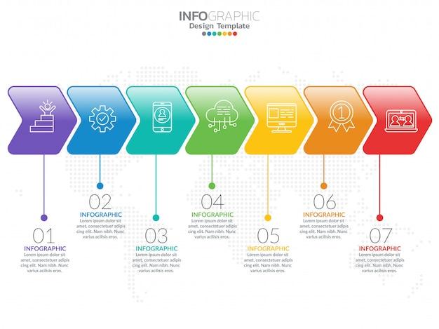 Infografik-schablonendesign mit 7 farboptionen