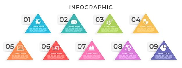 Infografik-schablonendreieck mit neun optionen
