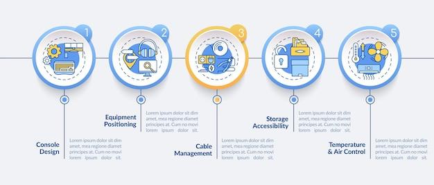 Infografik-schablonenillustration der kontrollraumergonomie