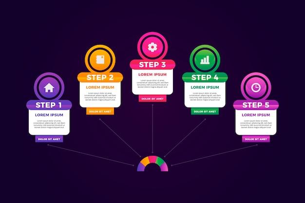 Infografik schritt sammlung konzept