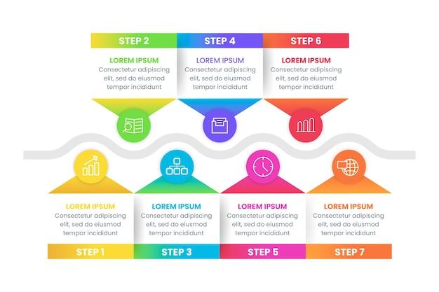 Infografik schritt sammlung stil
