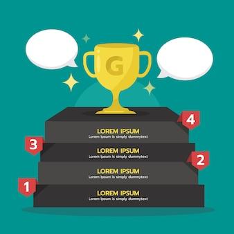Infografik schritt zum erfolg mit gold trophy cup. gewinner, grafisches element.