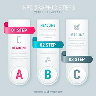 Infografik schritte in realistischem stil