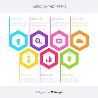 Infografik-schritte-konzept im flachen stil