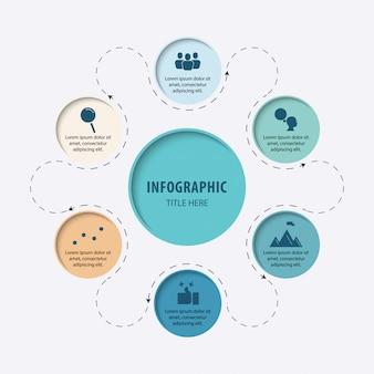 Infografik sechs prozesse oder schritte