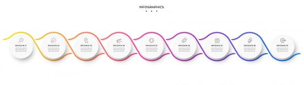 Infografik spiral design vorlage mit 9 optionen oder schritten.