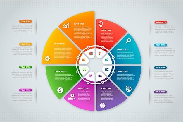 Infografik-stufendesign mit farbverlauf