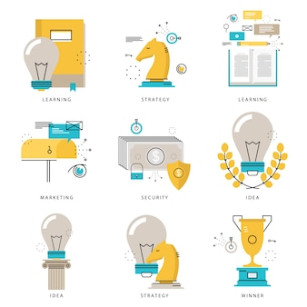Infografik symbole sammlung für business-strategie, marketing-taktik, projekte, führung, e-learning, finanzielle sicherheit vektor-illustration. zeilensymbole gesetzt. flache design web-grafik-elemente