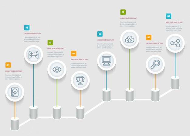 Infografik timeline-berichtsvorlage mit symbolen.