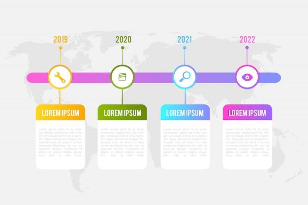 Infografik timeline-vorlage mit marketing-elementen kann für workflow-layout, diagramm verwendet werden