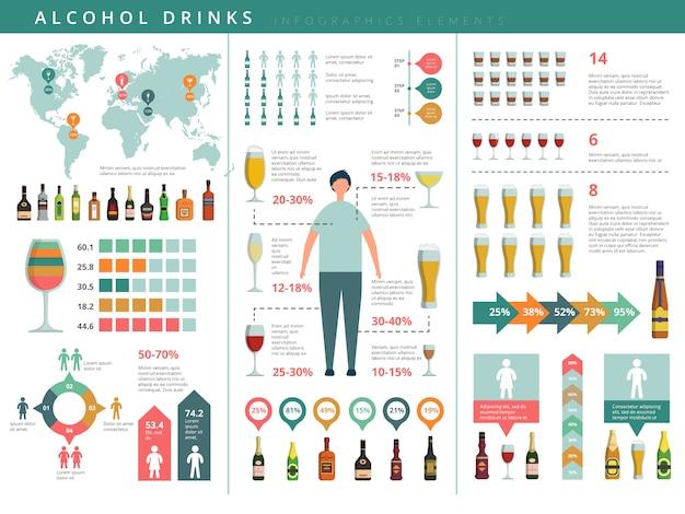 Infografik trinken. glas- und alkoholgetränkeflaschen geschäftsweltinfo über das trinken der menschenschablone