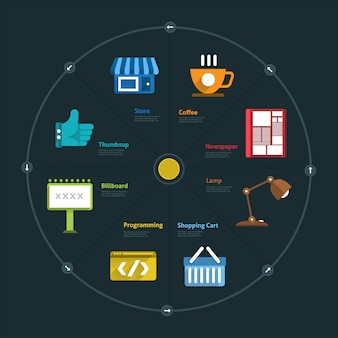 Infografik und symbolelementgeschäft verbinden lebensstil für layout oder diagramm