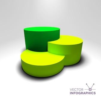 Infografik-vektor 3d-sockel mit grünen und gelben säulen