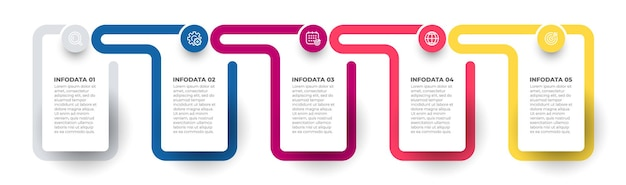 Infografik-vektor-design-element mit symbolen timeline-prozess mit 5 optionen