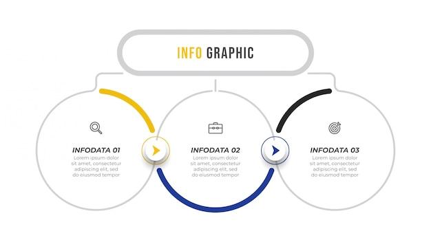 Infografik vektor design vorlage mit pfeilen und symbolen.
