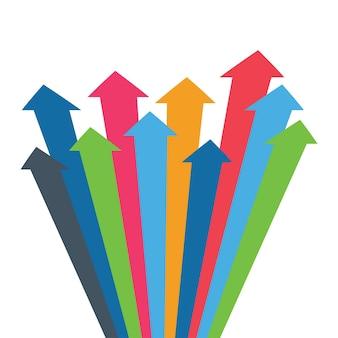 Infografik-vektorpfeilpfeile des wachstumserfolgs verkaufsvolumen erhöhen demografische zunahme d einfach...