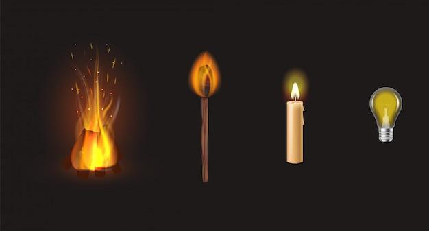 Infografik von lagerfeuer und kerze bis hin zu innovativen led-lampentechnologien. verschiedene arten des blitzes auf schwarzem.