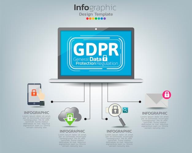 Infografik-vorlage der allgemeinen datenschutzverordnung (dsgvo) auf labtop mit symbolen