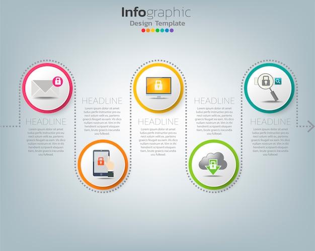 Infografik-vorlage der allgemeinen datenschutzverordnung (dsgvo) mit symbolen