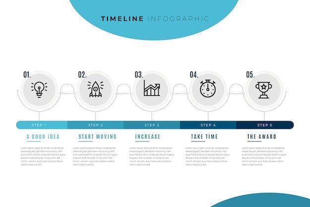 Infografik-vorlage der zeitleiste mit kreisen und schritten