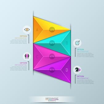 Infografik-vorlage, diagramm mit 4 mehrfarbigen dreieckigen elementen