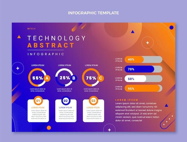Infografik-vorlage für abstrakte technologie mit farbverlauf