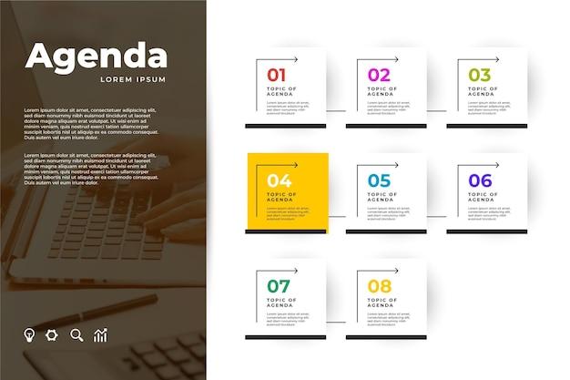 Infografik-vorlage für agenda-diagramme