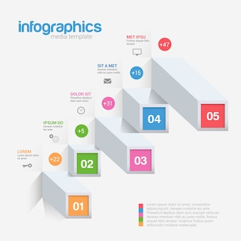 Infografik-vorlage für balkenindikatoren Premium Vektoren