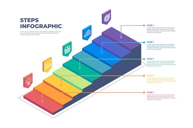 Infografik-vorlage für bunte schritte