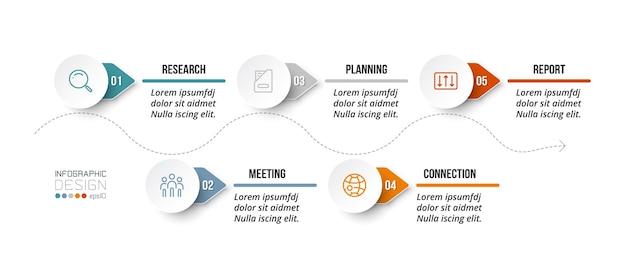 Infografik-vorlage für das zeitdiagrammgeschäft