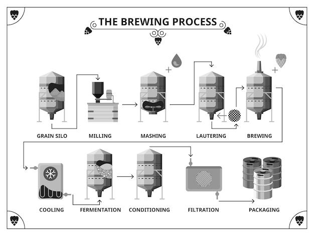 Infografik-vorlage für den brauereiproduktionsprozess