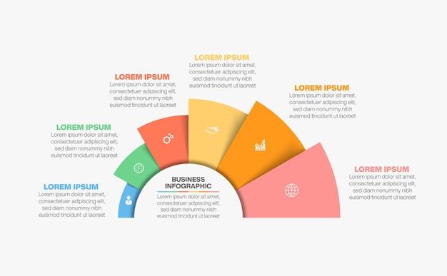 Infografik-vorlage für den geschäftskreis der präsentation